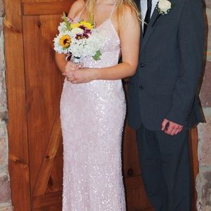 Scala Pale Pink Sequin Prom Dress